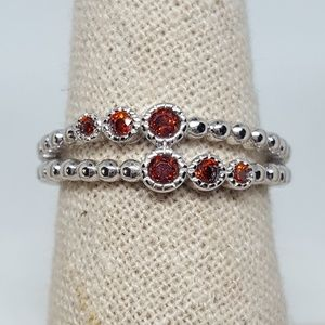 Jewelry - Sterling Silver Double Beaded Garnet CZ Ring